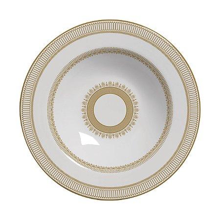 Conjunto de Pratos Fundos com 06 Peças em Cerâmica Plissan Rendado Dourado