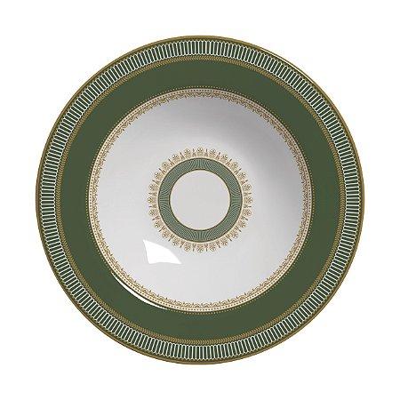 Conjunto de Pratos Fundos com 06 Peças em Cerâmica Plissan Rendado Verde