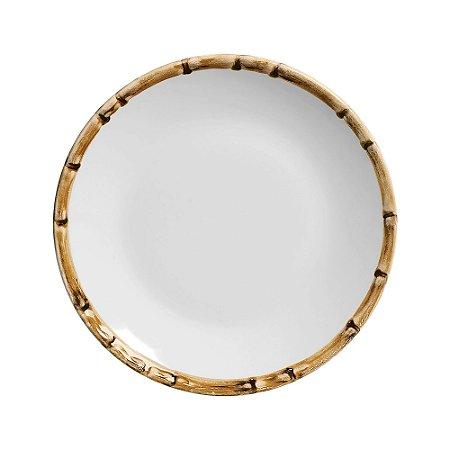 Conjunto de Pratos de Sobremesa com 06 Peças em Cerâmica Bambu