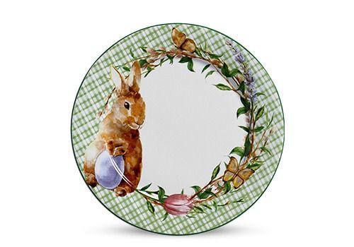 Conjunto de Pratos Rasos com 06 Peças em Cerâmica Bunny Verde