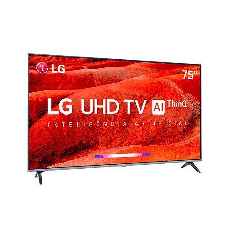 "Smart TV 75"" LED LG UHD 4K ThinQ AI, WebOS 4.5, Apple Airplay 2, Processador Quad Core - 75UM7510"