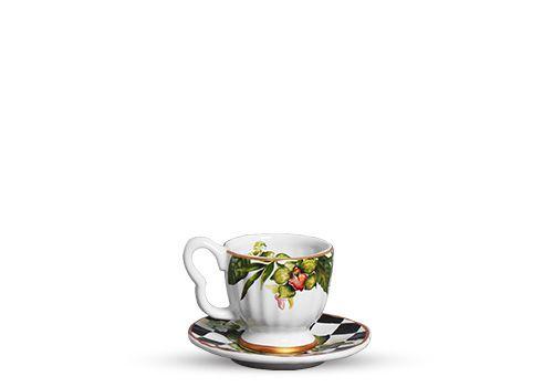 Conjunto de Xicaras de Cafe com 04 Peças em Cerâmica Floral Chess