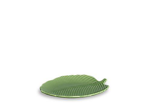 Conjunto de Pratos Rasos com 06 Peças em Cerâmica Leaves Relevada Verde