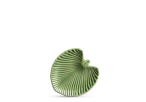 Conjunto de Pratos de Sobremesa com 06 Peças em Cerâmica Leaves Relevada Verde