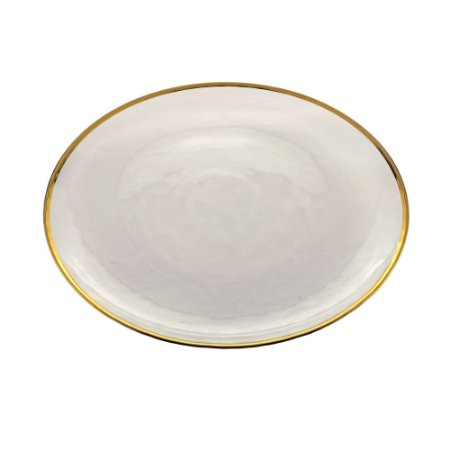 Prato Raso de Cristal com Borda Dourada Agate - 26cm