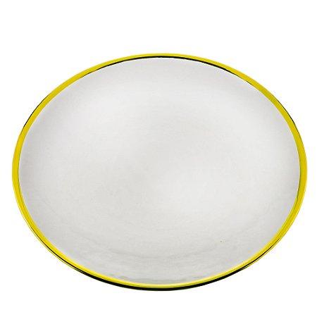 Prato de Sobremesa de Cristal com Borda Dourada Agate - 21cm