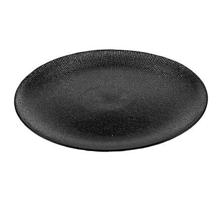 Prato Raso de Cristal Dots Preto - 26cm