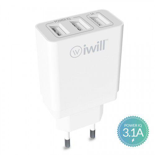 CARREGADOR DE PAREDE COM 3 SAÍDAS USB 3.1A BRANCO IWILL