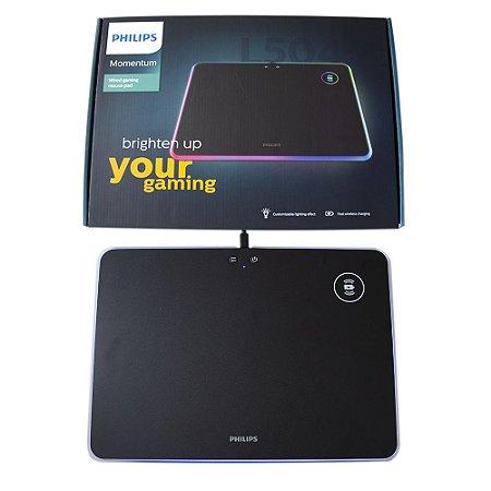 Mouse pad Gamer LED RGB Philips rigido 35 x 25 Carregador Qi