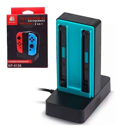 Base Carregadora KP-5136 para Joy-Con Nintendo Switch P/ 4 Controles
