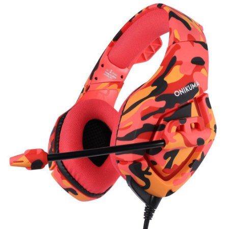 HEADSET GAMER ONIKUMA K1B - PS4/XBOX ONE/PC/ANDROID/IOS - CAMUFLADO RED
