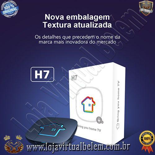 Receptor-Iptv HTV Box H7 Uhd 4K Wifi/ HDMI/ USB/ Lan/ Android 9.0 Preto