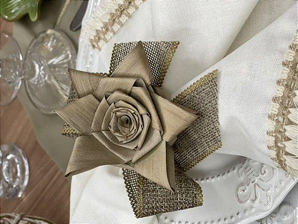 Porta Guardanapo Flor de Palha e Laço