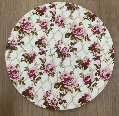 Capa para Sousplat Branca Floral Rose