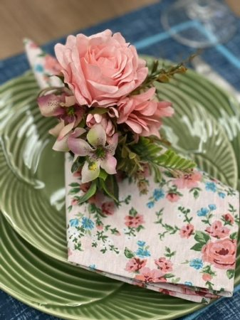 Guardanapo Rosa Floral - Rosa e Azul