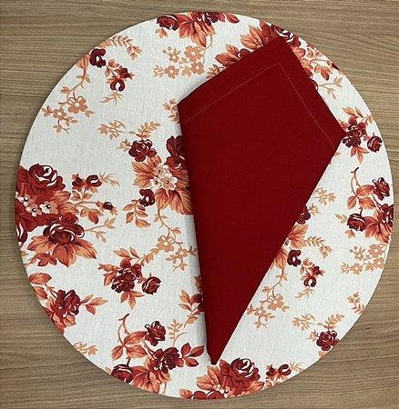Kit 8 Lugares Floral Vermelho