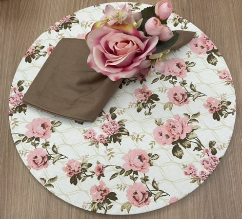 Kit 4 Lugares Floral Rosa Chocolate