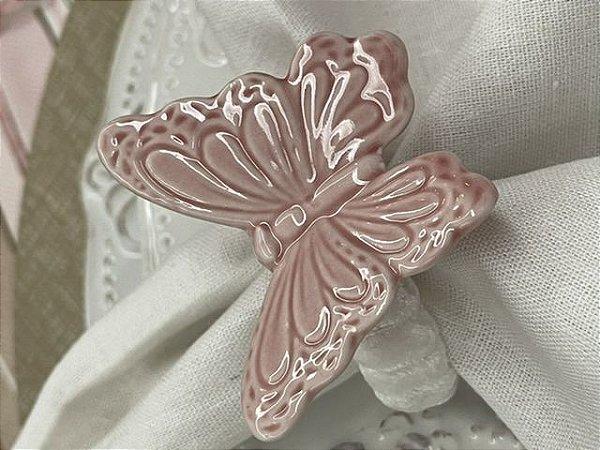 Porta Guardanapo Borboleta de Porcelana Rosa