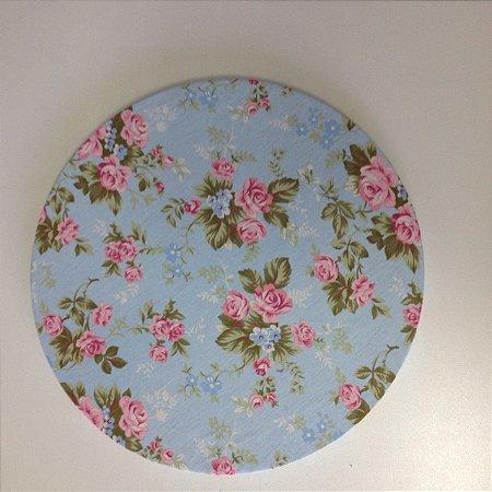 Capa Sousplat - Fundo azul floral rosa
