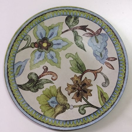 Sousplat floral verde e azul