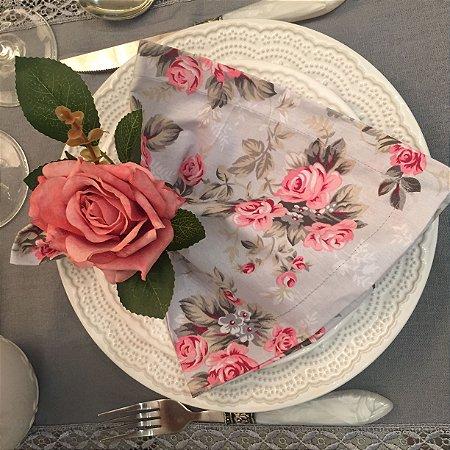 Guardanapo cinza Floral rosa