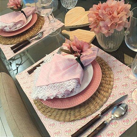 Jogo Americano Estampa Floral Rosa