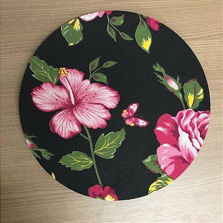Capapara Sousplat chita - Preta Floral Rosa