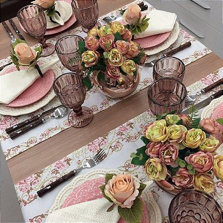 Trilho de Mesa Floral Marfim e Rosa