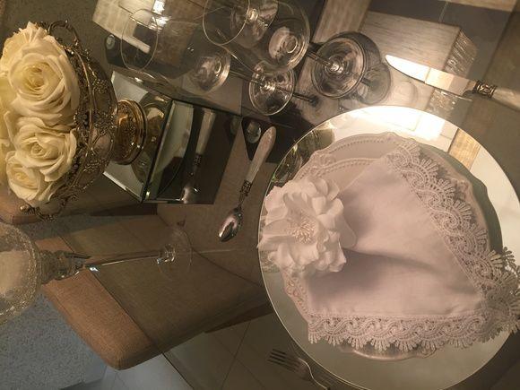 Porta guardanapo flor branca em Tecido