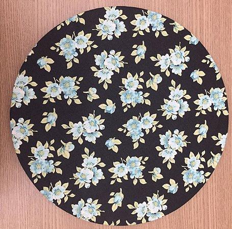 Capa Sousplat Preta Floral Tiffany