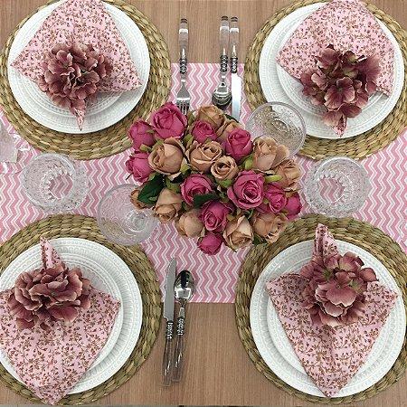Trilho de Mesa chevron rosa