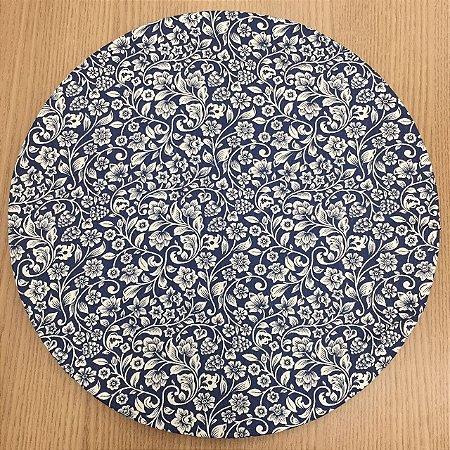 Capa Sousplat  Azul Marinho Floral Branco