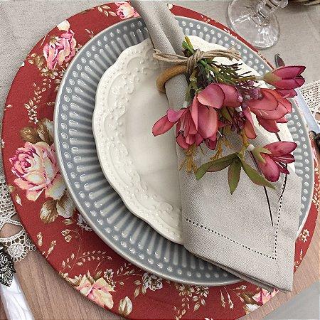Capa Sousplat Vermelho antigo floral