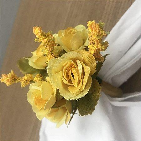 Porta Guardanapo Buquê de Rosas Amarela