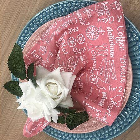 Guardanapo Rosa Estampa Lunch