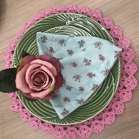 Guardanapo Azul Floral Rosa