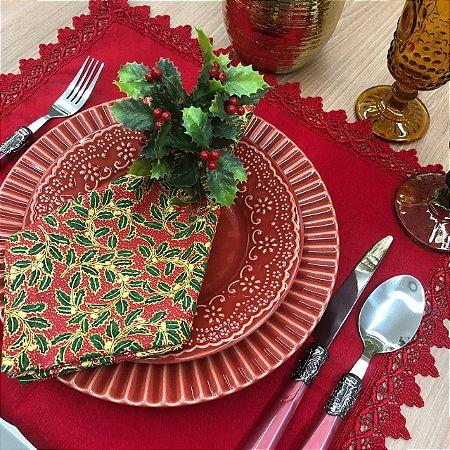 Guardanapo Natal  Vermelho Folhas