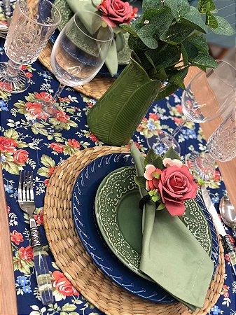 Trilho de Mesa Azul Floral