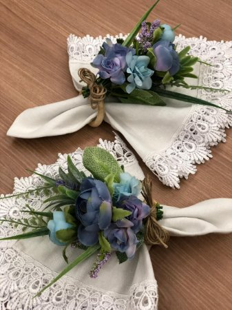 Porta Guardanapo Buque Flores Azuis