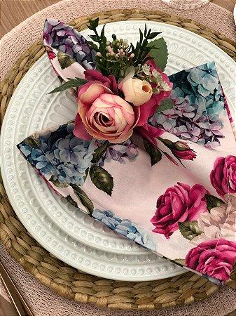 Guardanapo Floral Rosa e Azul