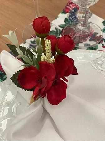 Porta Guardanapo Buque Flores Vermelho