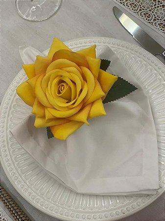 Porta Guardanapo Rosa Amarela Veludo
