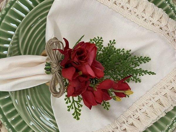 Porta Guardanapos Flores Vermelho