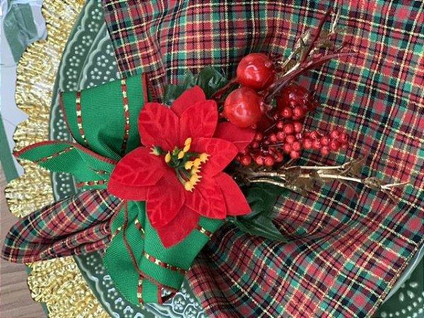 Porta Guardanapo Natal Laço verde e Flor