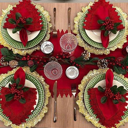 Trilho de mesa Vermelho com Renda