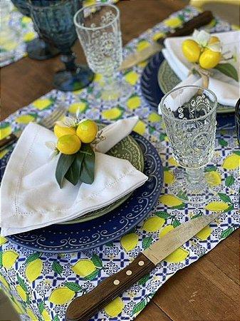 Trilho de mesa Estampa Limão Azulejo