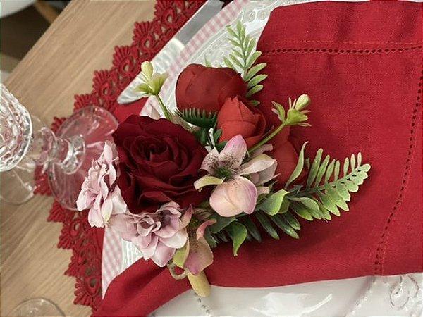 Porta Guardanapo Bouquet Rosa Vermelho