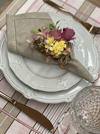 Porta Guardanapo Bouquet Rosa e Amarelo
