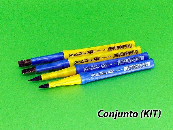 Kit Escolar Guache Macio 6232 - 4 pincéis (Pinctore/TIGRE)