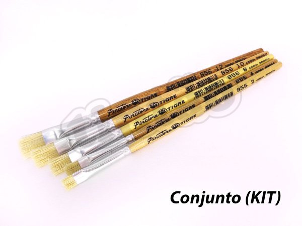 Kit para Pintura em Cerâmica e Artesanato 6256 - 5 pincéis (Pinctore/TIGRE)